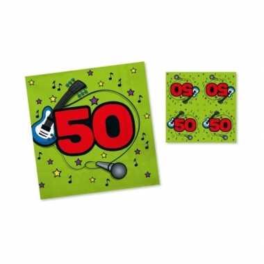 Verjaadags servetten 50 jaar groen
