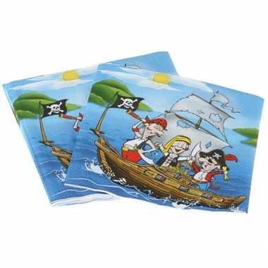Verjaadags servetten piraat blauw 16 cm