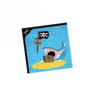 Verjaadags servetten piraat blauw 33 cm