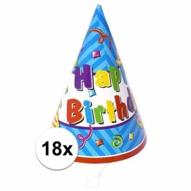 Verjaardag feesthoedjes 18x stuks