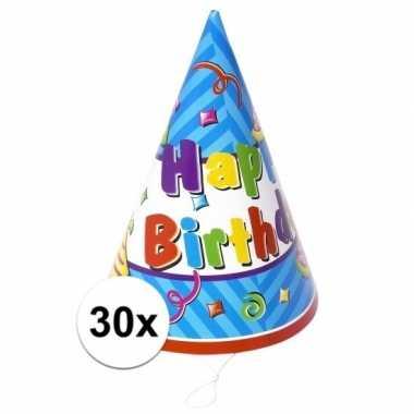 Verjaardag feesthoedjes 30x stuks
