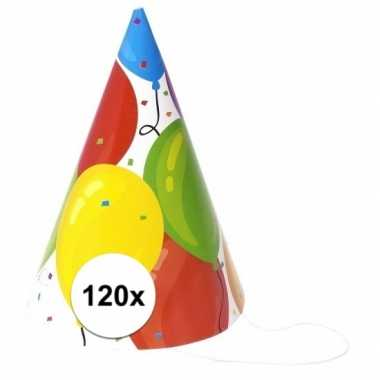 Verjaardag feesthoedjes ballon 120 stuks