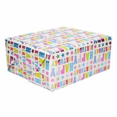 Verjaardag inpakpapier happy birthday 150 cm