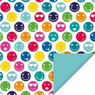 Verjaardag inpakpapier met gekleurde smileys 200 cm