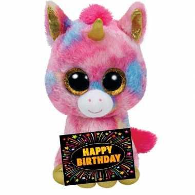 Verjaardag knuffel eenhoorn 24 cm + gratis verjaardagskaart