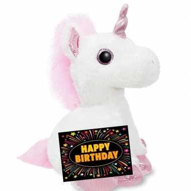 Verjaardag knuffel eenhoorn 30 cm + gratis verjaardagskaart