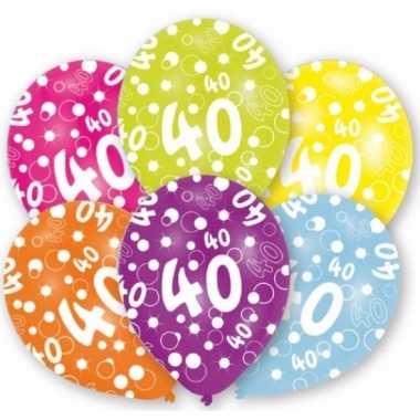 Verjaardag versiering leeftijd ballonnen 40 jaar 6 stuks