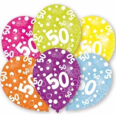 Verjaardag versiering leeftijd ballonnen 50 jaar 12 stuks