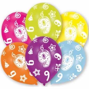 Verjaardag versiering leeftijd ballonnen 9 jaar 6 stuks