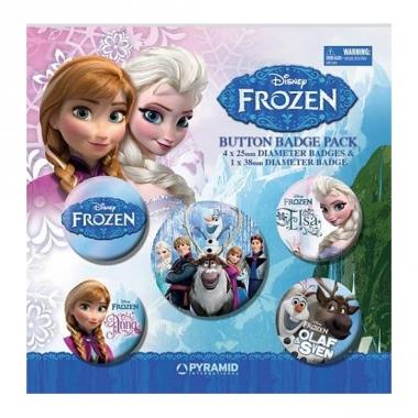 Verjaardagsfeest thema frozen 5 buttons