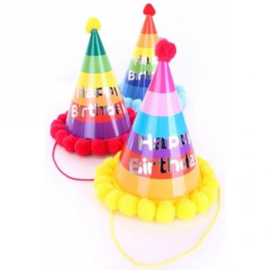 Verjaardagshoed met pompons