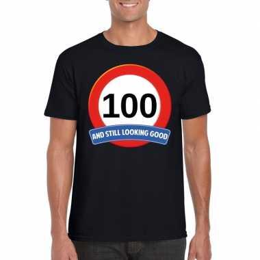 Verkeersbord 100 jaar t-shirt zwart heren