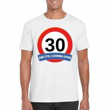Verkeersbord 30 jaar t-shirt wit heren