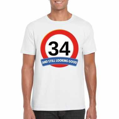Verkeersbord 34 jaar t-shirt wit heren