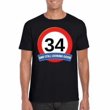 Verkeersbord 34 jaar t-shirt zwart heren