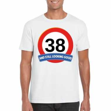 Verkeersbord 38 jaar t-shirt wit heren