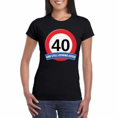 Verkeersbord 40 jaar t-shirt zwart dames