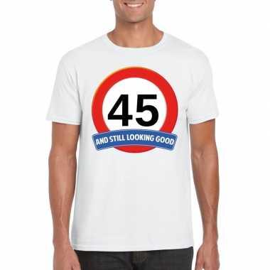 Verkeersbord 45 jaar t-shirt wit heren