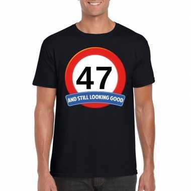 Verkeersbord 47 jaar t-shirt zwart heren