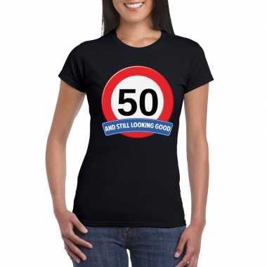 Verkeersbord 50 jaar t-shirt zwart dames