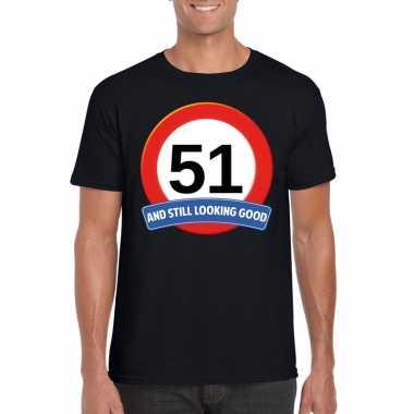 Verkeersbord 51 jaar t-shirt zwart heren