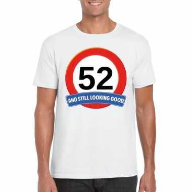 Verkeersbord 52 jaar t-shirt wit heren
