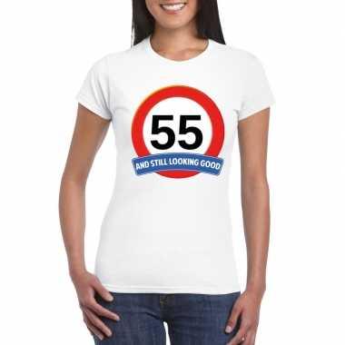 Verkeersbord 55 jaar t-shirt wit dames