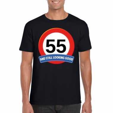 Verkeersbord 55 jaar t-shirt zwart heren