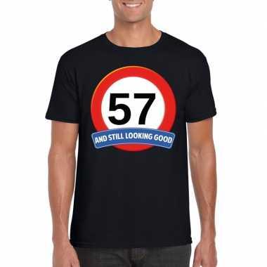 Verkeersbord 57 jaar t-shirt zwart heren