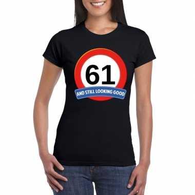 Verkeersbord 61 jaar t-shirt zwart dames