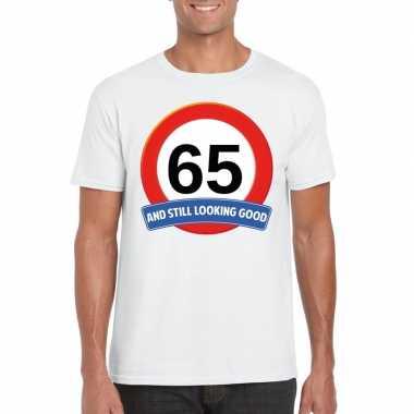 Verkeersbord 65 jaar t-shirt wit heren
