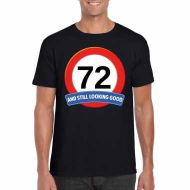 Verkeersbord 72 jaar t-shirt zwart heren