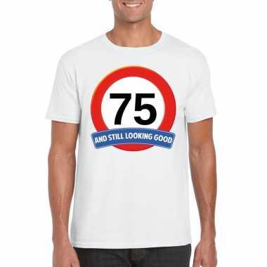 Verkeersbord 75 jaar t-shirt wit heren