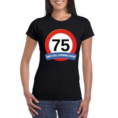 Verkeersbord 75 jaar t-shirt zwart dames
