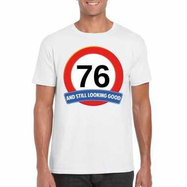 Verkeersbord 76 jaar t-shirt wit heren