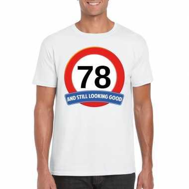 Verkeersbord 78 jaar t-shirt wit heren