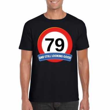 Verkeersbord 79 jaar t-shirt zwart heren