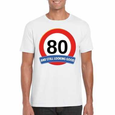 Verkeersbord 80 jaar t-shirt wit heren