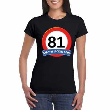 Verkeersbord 81 jaar t-shirt zwart dames