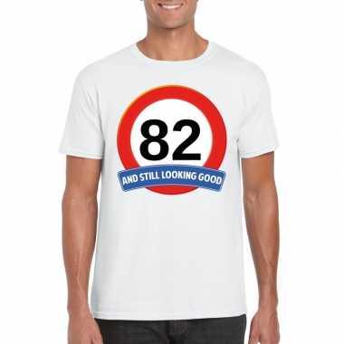 Verkeersbord 82 jaar t-shirt wit heren