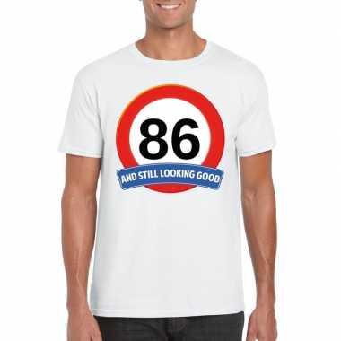 Verkeersbord 86 jaar t-shirt wit heren