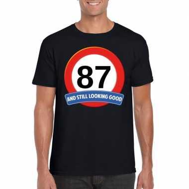 Verkeersbord 87 jaar t-shirt zwart heren