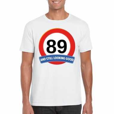 Verkeersbord 89 jaar t-shirt wit heren