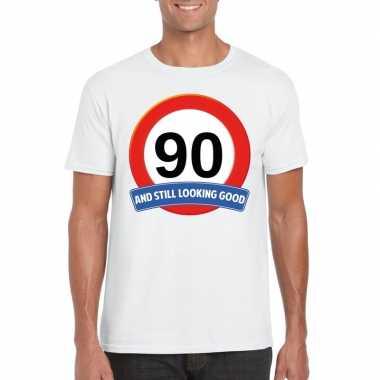 Verkeersbord 90 jaar t-shirt wit heren