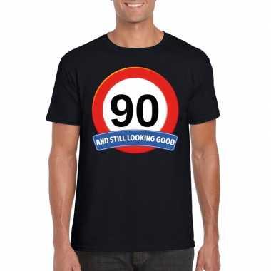 Verkeersbord 90 jaar t-shirt zwart heren