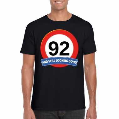 Verkeersbord 92 jaar t-shirt zwart heren