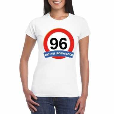 Verkeersbord 96 jaar t-shirt wit dames