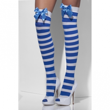 Verkleed accessoires kniekozen blauw/wit strepen