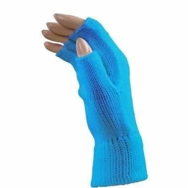 Verkleed blauwe handschoenen vingerloos voor volwassenen