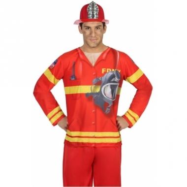 Verkleed brandweer shirt voor heren